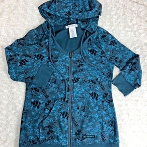 Walt Disney World Womens Sz M Blue Gray Zip Up Sco